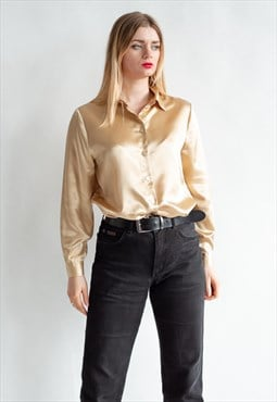Vintage 80s funky golden shirt in party pattern