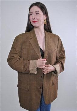 Women retro oversized brown wool suit blazer jacket