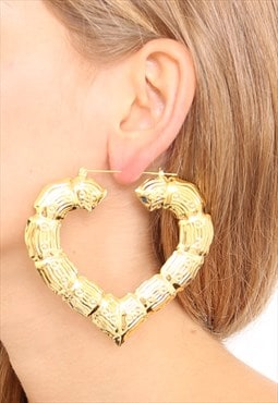 Gold Oversized Bamboo Heart Hoop Earrings