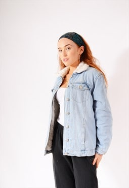 Vintage New Look Lined Denim Jacket Light Blue