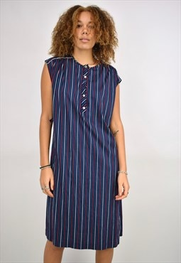 Vintage 90s Navy Red Green Stripe Dress