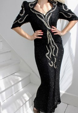 Vintage 1980s Sequin Long Black And Silver Evening Dress