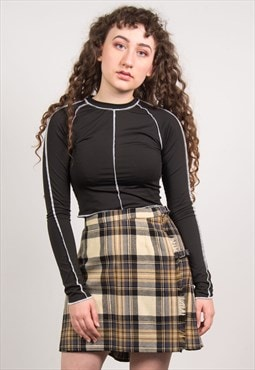 Vintage 90's Beige Tartan Pleated Mini Skirt