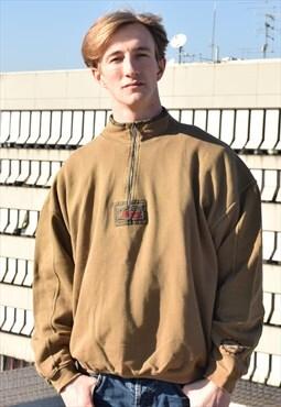 Vintage 90s Green QuarterZip 1/4 Zip Sweater Sweatshirt