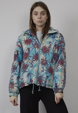 Vintage 80's hooded blue pattern detail puffer jacket