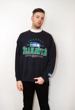 SEAHAWKS SWEATSHIRT (2XL) VINTAGE 90S JUMPER SWEATER TOP