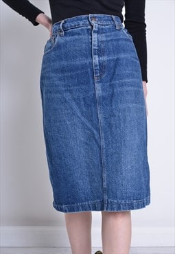 Vintage Levis Mid Length Denim Skirt Blue