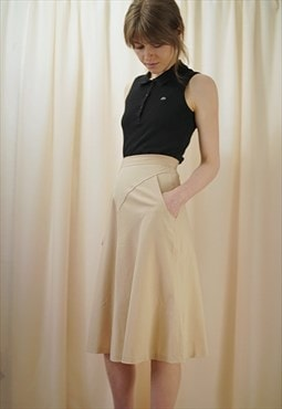 French Designer High Waisted 70s Beige Midi Skirt  w Pockets