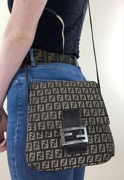 Womens Fendi Handbag brown all over FF zucca print bag