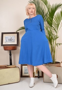 Vintage 80s Long Sleeve Soft Cotton Midi Dress Blue