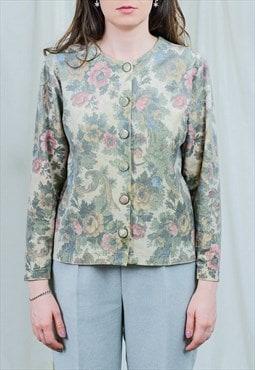 Floral blazer retro jacket printed boho FALA vintage L/XL