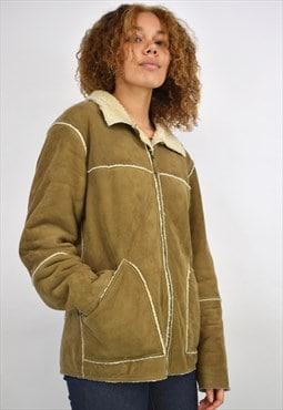 "Vintage 90s Tan ""Fur""-Line Jacket"