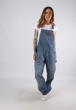 Vintage Denim Dungarees Wide Leg Boyfriend UK 14 Large (E4J)