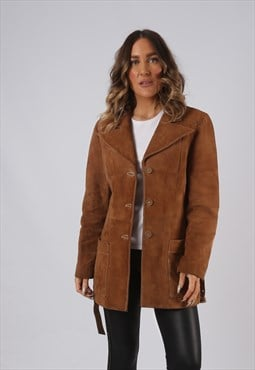Suede Leather Fitted Jacket Short Mid Vintage UK 14 (DKEC)