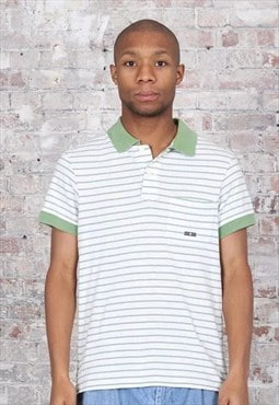 Vintage Stone Island Striped Polo Shirt White Green