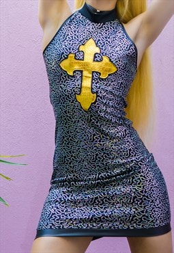 Chastity Sequin bodycon halter dress with gold cross
