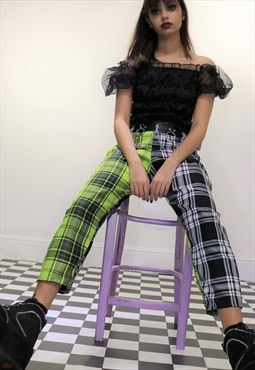 High Waist Tartan Check Trousers in Green and Black