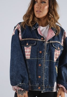 Vintage Denim Jacket Striped Oversized Fitted UK L 14  (J2W)