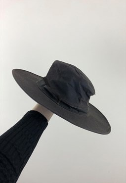 Womens Barbour hat dark brown leather wide brim country