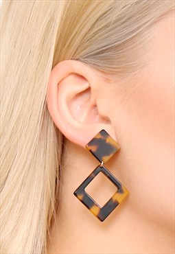 Tortoiseshell Acrylic Statement Earrings