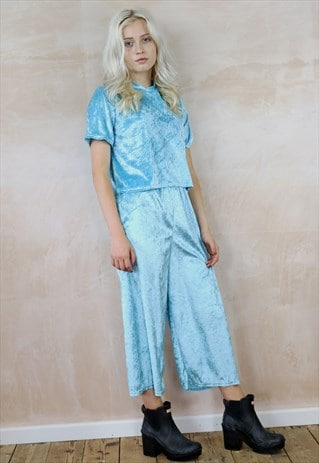 JUST A LITTLE CRUSH SKY BLUE VELVET CO-ORDINATES