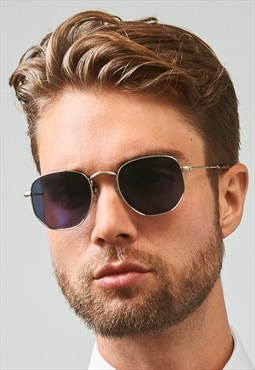 Alex Stainless Steel Dapper Silver Mens Sunglasses