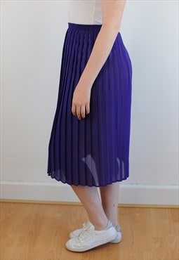 Womens Vintage 80s skirt purple semi sheer pleated skirt
