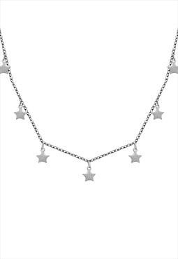 Silver stars choker necklace