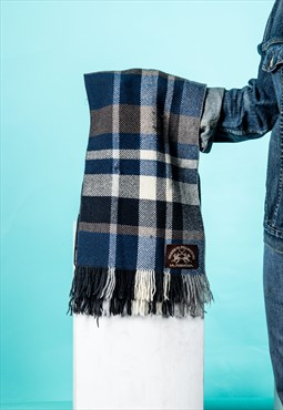 Vintage Scarf in Blue, Brown and Grey Checked Wool