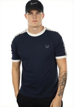 Vintage FRED PERRY Tape Arm T Shirt Blue