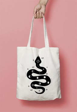 Space Snake Moon Phase Print Canvas Tote Bag - Black on Natu