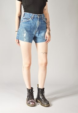 Vintage Levi's 505 Painters Denim Shorts Mid Blue