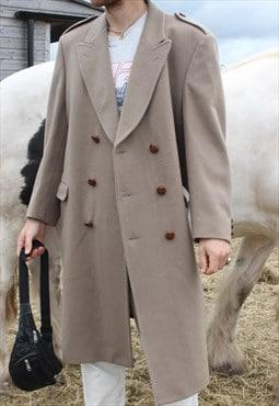 Vintage 80s Beige Stone Long Pure New Wool Overcoat