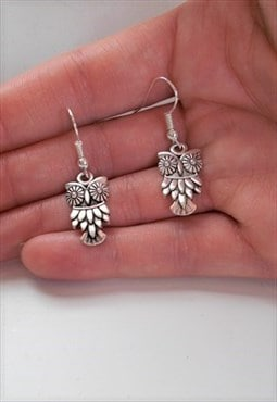 owl earrings - silver earrings