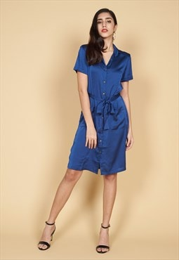 Jordin Button Up Mini Dress in Navy Blue