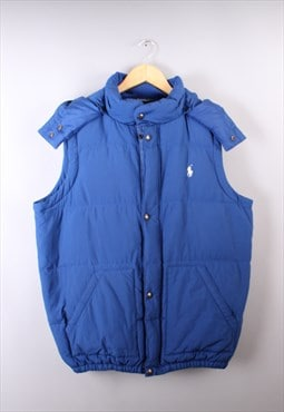 Mens Vintage Ralph Lauren Blue Body Warmer Jacket