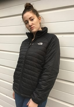 Womens North Face coat primaloft zipper black puffer jacket