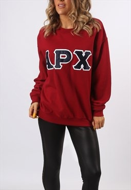 Sweatshirt Jumper Oversized APX Print Logo UK 14  (AG3F)