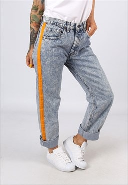 High Waisted SIDE STRIPE REWORKED Jeans Tapered UK 14 (H31Z)