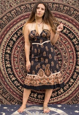 Vintage 70's Cotton Paisley Print Midi Dress