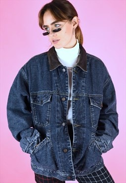 Vintage 90s Denim Jacket in Blue with Warm Flannel Lining