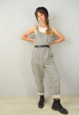 Stripe Dungarees Linen Cotton Workwear French Style Unisex