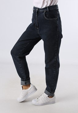 High Waisted Denim Jeans STRETCH Tapered UK 12  (A84P)
