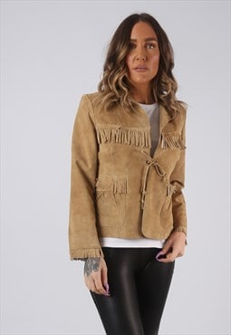 Suede Leather Fringe Tassel Jacket Short UK 10 (CWCH)