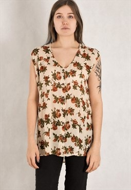 Womens vintage 90s sleeveless Floral and romantic boho top