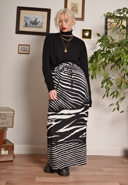 Vintage Zebra Animal Print Pencil Maxi Skirt