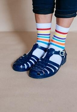 Vintage 90s dark blue jelly sandals