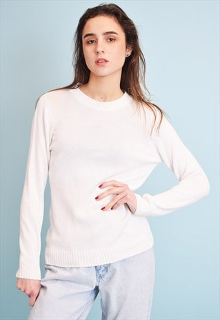 90'S RETRO NEUTRAL KNIT MINIMALIST JUMPER TOP IN OFF-WHITE