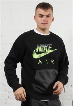 Vintage Nike Air Sweater in Black w/ Spell Out Logo