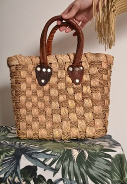 Vintage 70s wicker straw basket bag leather handles